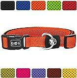 DDOXX Hundehalsband Air Mesh | für große & Kleine Hunde | Katzenhalsband | Halsband | Halsbänder | Hundehalsbänder | Hund Katze Katzen Welpe Welpen | klein breit Leuchtend bunt | Orange, L