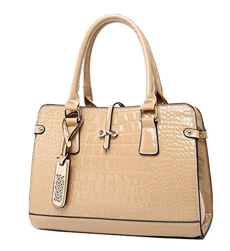 Yan Show Damen Niet Schultertaschen Weben Rucksack Handtasche Multifunktions Tasche(Gold) Khaki