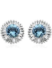 TJC Women 585 Gold 14ct White Gold Aquamarine and Diamond Stud Earrings