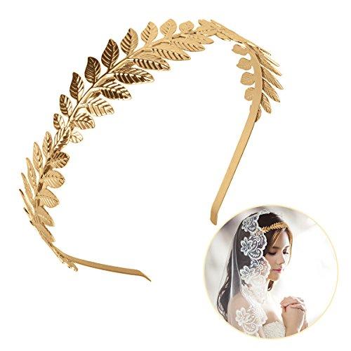 OZUAR Golden Leaf Stirnband Griechischen Stil Krone Diadem Tiara Haarschmuck Graceful Universal Größe für Frauen Mädchen in Hochzeit Halloween Tägliche Nutzung (Niedlich, Einfache, Schnelle Halloween-kostüme)