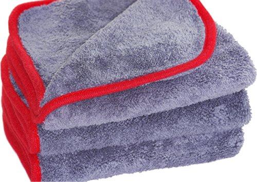 Glart 443TP Premium Flausch 3er Set Mikrofasertücher, ultraweich für Perfekte Auto Lackpflege, Poliertuch, Trockentuch, Anthrazit-Rot 40 x 40 cm
