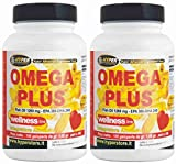 Omega 3 1200 mg Fischöl Hohe Dosierung 2 BOX mit 100 Perlen Ergänzung mit hoher Konzentration Fettsäuren Jede Perle enthält