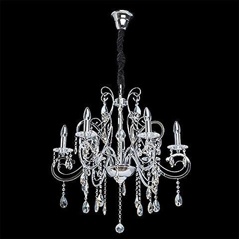 Lámpara de araña, lámpara colgante, estilo vintage, de lujo, original, de metal cromado, espirales elegantes, adornada con cristales, para salón, comedor, dormitorio diametro -78cm, E14 6 x 40 W 230