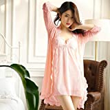 WXIN /sig.Ra/Pigiama Donne/Imbragature Nightgowns Nightgowns Due Pezzi Pizzo/Tute/M/Rosa Rosso