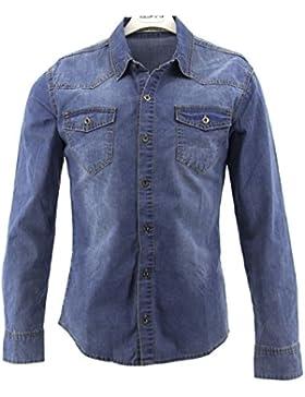 Camicia Uomo Jeans Maniche Lunghe Slim Fit Casual Aderente Denim Nuovo