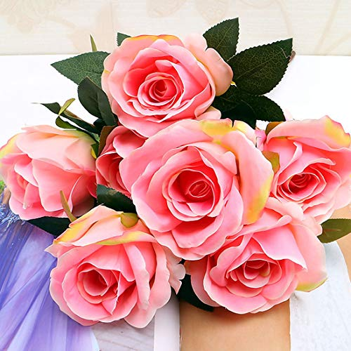 Burgundy Rose Blush (Artificial Flowers - Flowers Home Decoration 7 Heads French Rose Floral Bouquet Fake Arrange Table Daisy Decor Silk - Rose Outdoor Eggplant Delivery Grey Light Indian Indoor Japanese Kitchen)