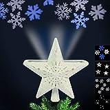 Bakaji Christmas Puntale con Proiezione Luci a LED su Soffitto per Albero di Natale Forma Stella 4 Giochi di Luce Dimensioni 24 x 7 cm (Bianco)