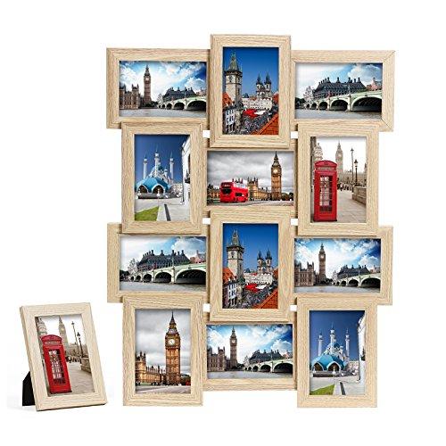 """Preisvergleich Produktbild Songmics Bilderrahmen Collage für 12 Fotos je 10 x 15 cm (4 x 6"""") + 1 x einzelner Fotorahmen aus MDF-Platten gelb RPF112Y"""