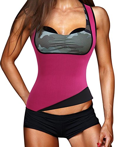 Damen Hot Schweiß Weste Neopren Sport Body Shaper Korsett Sauna-Anzug Waist Taille Cincher (L(Fit 32.2-36.2 Inch Waist), Hot Pink(3-5 Days Delivery))
