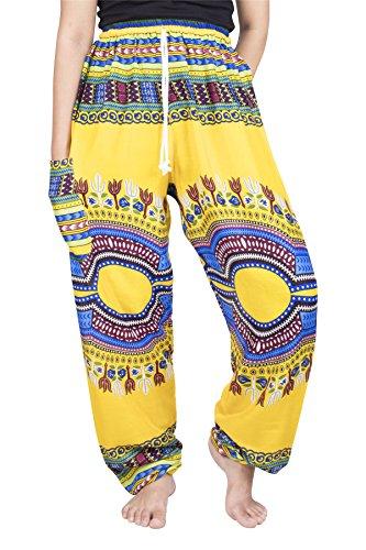 Lofbaz Pantaloni Coulisse da Donna Pavone Funky Floral Harem Pants Taglia Unica Dashiki Giallo