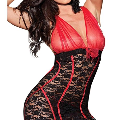 Goosun Frau Sexy Bodysuit Unterwäsche Transparent Lingerie Bow V Ausschnitt Spitze Versuchung Bodys Lingerie Strandkleidung Perspektive Dessous Große Größe Perspective Nachthemd (L, Rot)