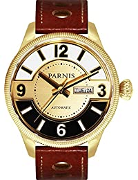 PARNIS Modelo 3249automático reloj mecánico Reloj de Miyota de calibre 821A día de la semana y fecha 5bar impermeable DIN 8310Cristal de zafiro Piel de ternero pulsera