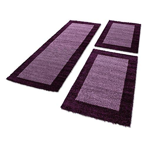 Bettumrandung/Läuferteppiche für Wohnzimmer 3 Tlg. Läuferset_LIFE_1503, Maße:2x 80x150 cm / 1x 80x250 cm, Farbe:Lila