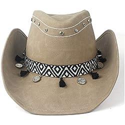 HONG YI-HAT Accesorios de Vestir Gorra de Cuero Moda Hombres de Moda Mujeres 100% Cuero Sombrero de Vaquero Cinta Rollo ala de ala Sombrero de Fedora Sombrero de Jazz (Color : Tan, Size : 58-59)