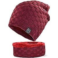 NOHOPE Unisex Winter Warm Lined Tejido de Punto Conjunto de Sombreros más  cálido para el f6213446d16