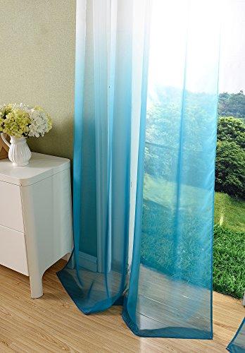 Schal transparent Farbverlauf Vorhang mit Ösen Gardine Voile, 2 Stück 245×140, Türkis, 204202 - 4