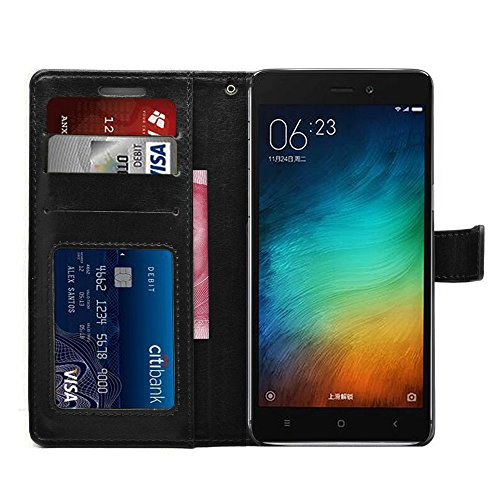 Febelo Premium Quality PU Leather Magnetic Lock Wallet flip cover Case for Xiaomi Redmi 3S Prime – Black Color