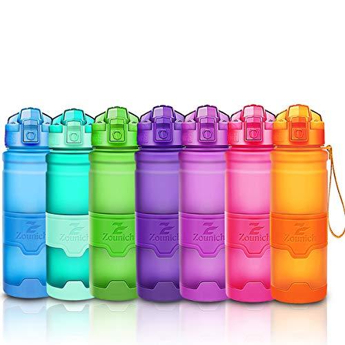 ZOUNICH Trinkflasche Sport BPA frei Kunststoff Sporttrinkflaschen für Kinder Schule, Joggen, Fahrrad, öffnen mit Einer Hand Trinkflaschen Filter, Orange, 14oz/400ml