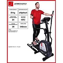 Sportstech CX630 Máquina elíptica profesional con movimiento de carrera, Inercia 21 KG, 4x HRC - 20 programas de entrenamiento - 24 eles de resistencia – escalador elíptico ergonómico