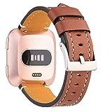 Mornex Bracelet Compatible Fitbit Versa Cuir, Bande de Remplacement Réglable Sangle Rechange Accessoires Grand Petit