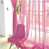 Fenster Vorhang Sheer, bunt, floral Tüll Voile Tür Vorhang Panels für Wohnzimmer, Voile Vorhang Panel (2, Rose Rot)