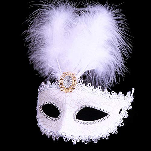 loween Masken Fancy Dress Masquerade Ball Federmasken weiß ()