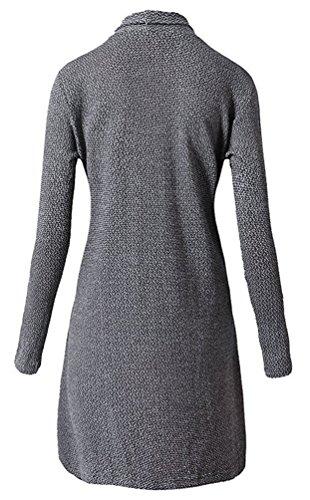 Brinny Femme Chandail Veste Manteau long Cardigan ouvert en tricot Knit Jacket Hoody Hoodie Sweatshirt Sweat Blazer Cardigan Pull Gilet Ouvrez-Front col chale Gris