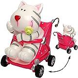 Unbekannt große Spardose -  süße Baby Katze im Kinderwagen  - mit Schlüssel & Schloß - aus Kunstharz / Polyresin - Sparschwein - für Kinder & Erwachsene / lustig Witz..