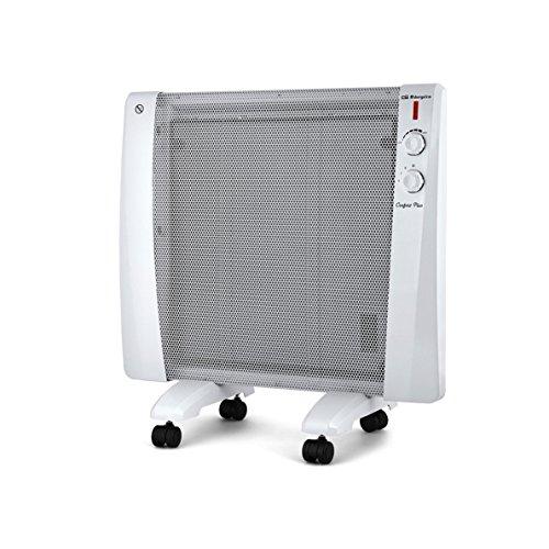 Orbegozo RM 1000 - Radiador, tecnología MICA-SYSTEM, 1000 W, 3 modos de calor 300 W, 700 W, 1000 W, termostato, seguridad antivuelco, sin fluido, piloto luminoso, soporte mural, ruedas, color blanco