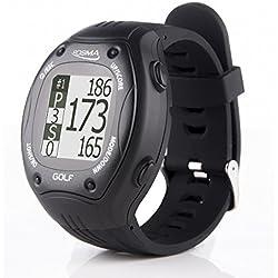 Posma GT1-Reloj de Entrenamiento de Golf con GPS y telémetro, Campos de golf preinstalados sin necesidad de descargas o contratos, Negro