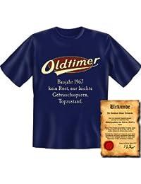 zum 50. Geburtstag Set T-Shirt und Urkunde - OLDTIMER BAUJAHR 1967 - kein Rost nur leichte Gebrauchsspuren Topzustand Gr: in navy-blau : )