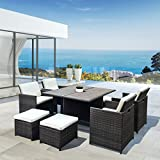 RATTAN WICKER CONSERVATORY OUTDOOR GARDEN FURNITURE WOODEN PATIO CUBE TABLE CHAIR SET (Brown)