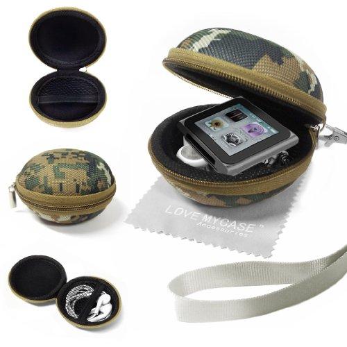 Stylebitz / Armee grün / Tarnung Stoff für MP3 Player, Cover, Schale - Clamshell Art mit Zip Gehäuse, entworfen Innentasche, strapazierfähiges Außen Apple iPod Nano der 6. Generation mit Stylebitz Reinigungstuch (Ipod Shuffle Pink)