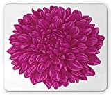 Dahlia Flower Mouse Pad, Big Large Flat Sparse Florets with Outward Pompons Vintage Style in Fuchsia Color, Standard Size Rectangle Non-Slip Rubber Mousepad, Pink