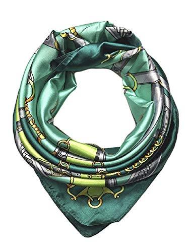 iAmotus Sciarpa di seta SMILE modello femminile ampio foulard a testa di raso quadrato per le donne in autunno (green)