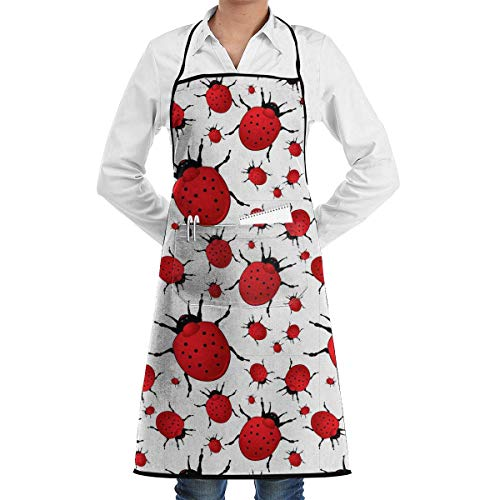 Drempad Premium Unisex Schürzen, Three-Dimensional Seven-Star Ladybug Retro Aprons Kitchen Chef Bib - Professional for BBQ Baking Cooking for Men Women -