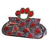 Too Fast Brand Handtasche ROSES & LEOPARD KNUCKS BAG black