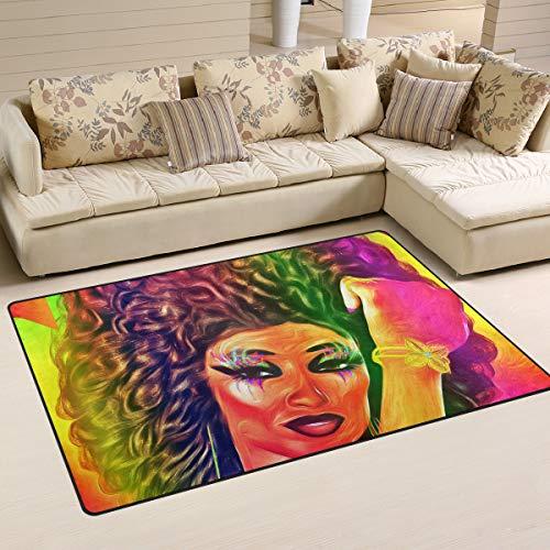 FANTAZIO Teppich Zubehör Afro Frau Ölgemälde Eingangsmatten für Ecken und Kanten Ideal Teppichstopper 78,7 x 50,8 cm / 152,4 cm, Polyester, 1, 60 x 39 inch