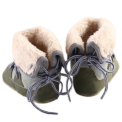 WAYLONGPLUS Winter Baby-Jungen Prewalker Schuhe warme Schnee Stiefel Grün