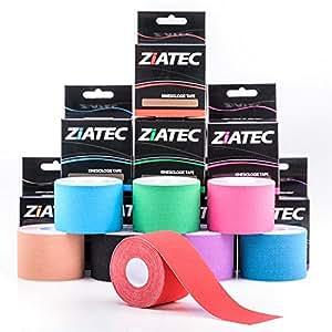 Ziatec Pro Kinesiologie Tape, Nastro elastico per bendaggio kinesiologico, uso fisioterapico, sportivo, per il tempo libero e per uso medico 100% cotone, impermeabile, 1 x beige