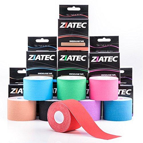 Ziatec Pro Kinesiologie Tape - viele Farben und Packs verfügbar - Physio-Tape - Sporttape 100% Baumwolle, Farbe:1 x blau / 1 x rot