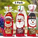 Coperchio di bottiglia di vino di Natale - 3 sacchetti di vino bottiglia regalo sacchetti di champagne babbo natale, pupazzo di neve e orso decorazione di Natale imballaggio sacchetti di vino
