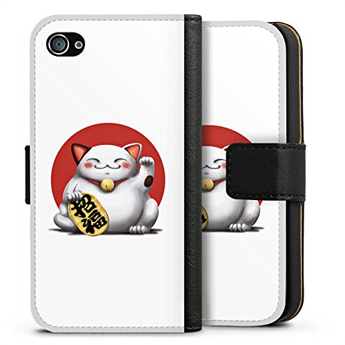 Apple iPhone X Silikon Hülle Case Schutzhülle Kawaii Katze Japan Sideflip Tasche schwarz