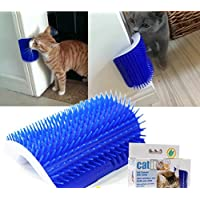 Huuiy Brosse d'angle de toilettage et massage pour chat avec herbe à chat, 12,7 x 8,5 x 4,7 cm
