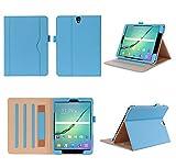 ISIN Tablet Fall Serie Premium PU-Leder Schutzhülle für Samsung Galaxy Tab S3 9.7 Zoll SM-T820 und T825 Android Tablet PC mit Mehrere View Engel (Blau)