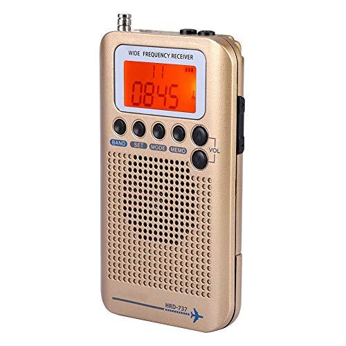 VBESTLIFE Tragbarer Tragbares Digitales Radio, VHF Flugzeugband Radioempfänger mit Antenne, Vier Suchmodus, leistungsstarker Speicher für Outdoor-Camping-Wandern(Schwarz) - Ihome-radiowecker