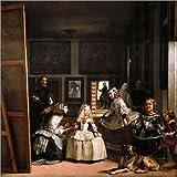 Cuadro sobre lienzo 70 x 70 cm: Las Meninas de Diego Rodriguez de Silva y Velazquez - cuadro terminado, cuadro sobre bastidor, lámina terminada sobre lienzo auténtico, impresión en lienzo