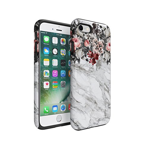 Pink Flowers Boquet Light Grey Marble Stone Apple iPhone 7 Silicone Inner & Outer Hard PC Shell 2 Piece Hybrid Armor Case Cover (Flower Pink Jewel Snap)