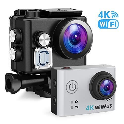 Action Cam, WiMiUS Actioncam 4k WIFI Unterwasserkamera 40M 170 ° Weitwinkel Ultra HD Wasserdichte Sport Camera Helmkamera mit 2 Akkus und Transporttasche (L2-Silber)