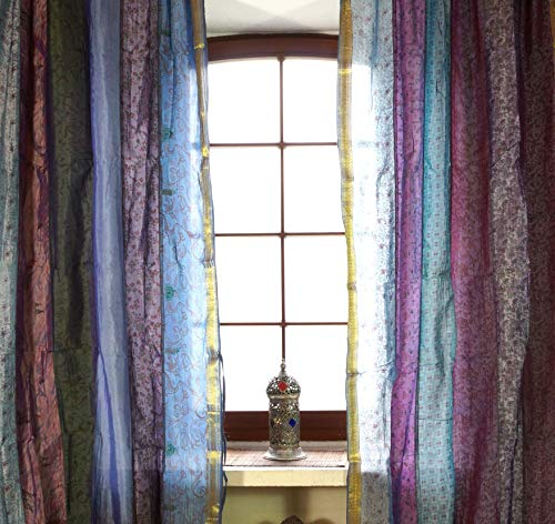 Guru-Shop 1 Paar Vorhänge (2 Stk.) Gardine aus Patchwork Sareestoff, Unikat - Blau/violett, Synthetisch, 240x100 cm, Dekovorhänge